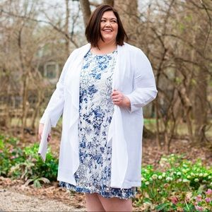 Catherines White Georgette Cascade Duster